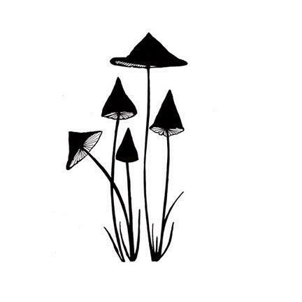 Stamp Slender Mushrooms Miniature