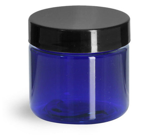 Jar Blue Plastic Square 8 oz.