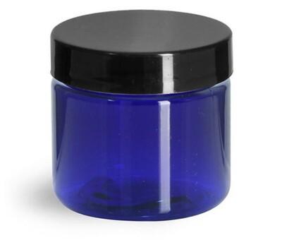 Jar Plastic Square, 8 oz., Blue
