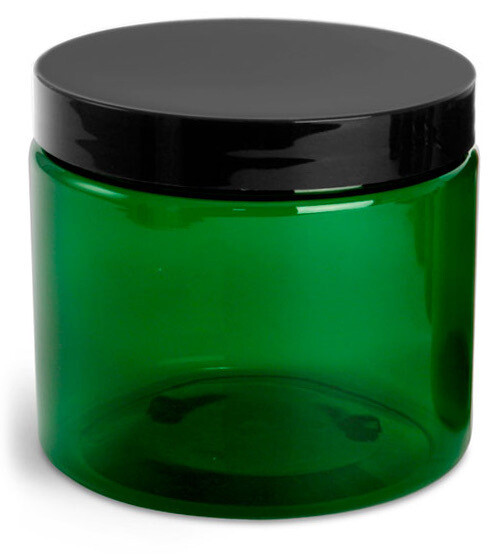 Green Plastic Jar, 8 oz.
