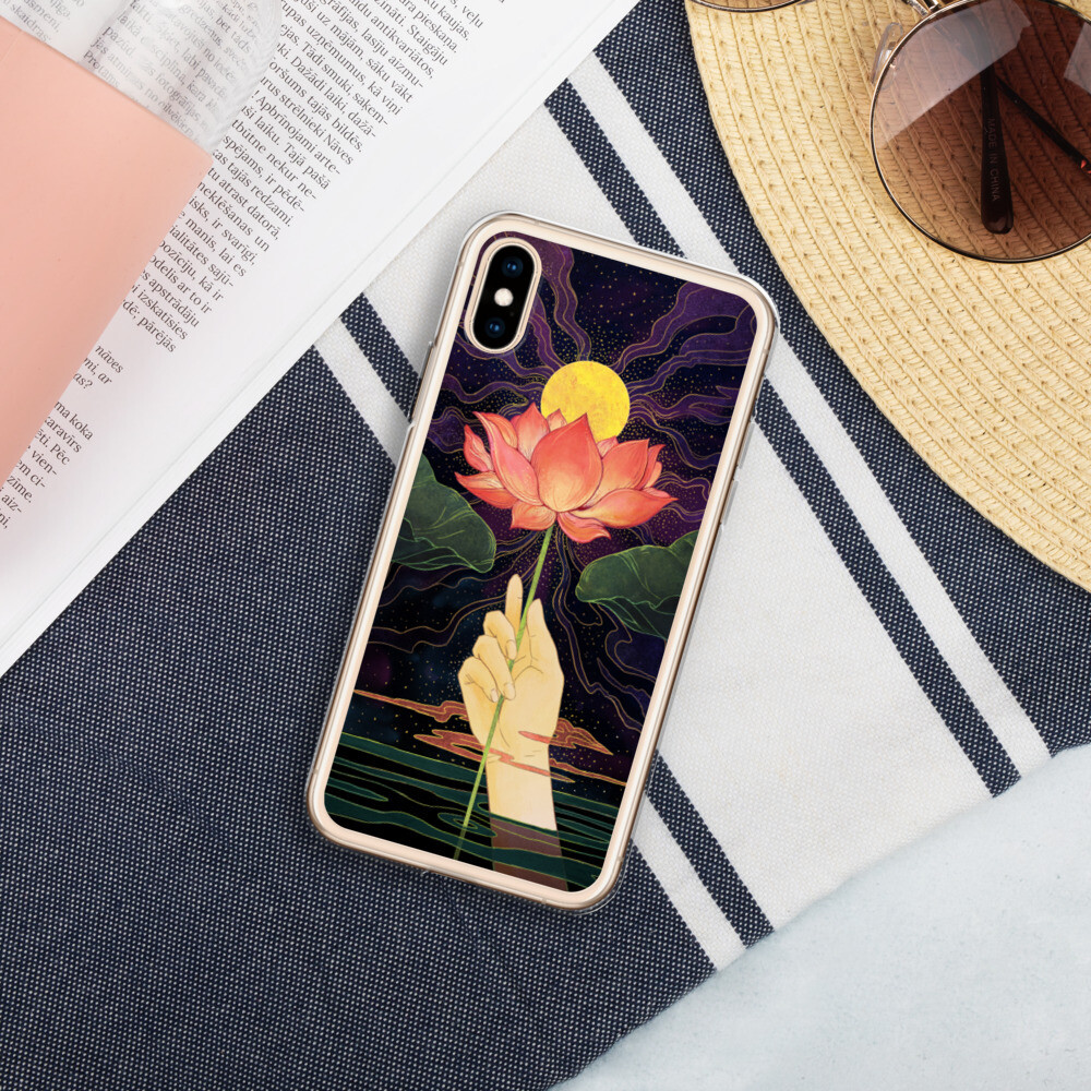 Night Lotus Liquid Glitter Phone Case