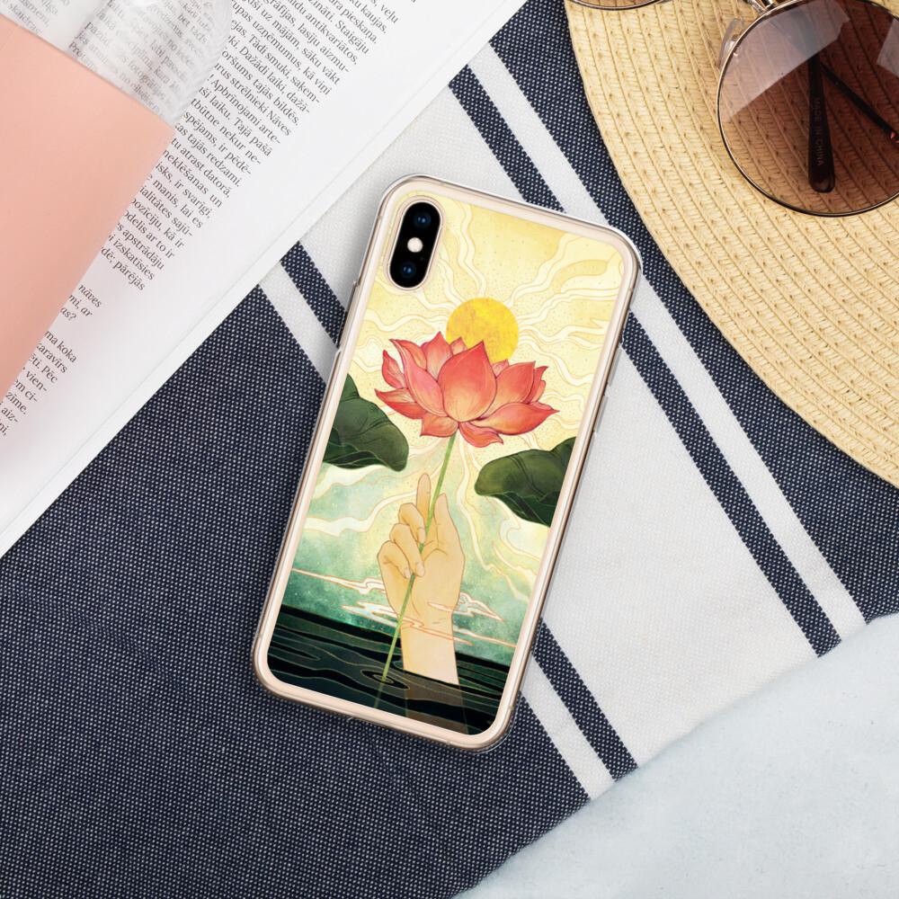 Day Lotus Liquid Glitter IPhone Case