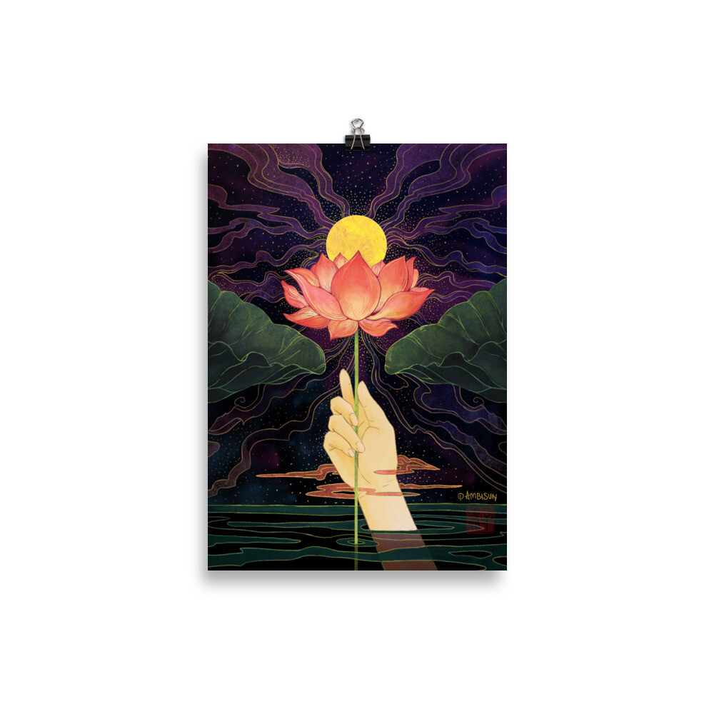 Night Lotus A4 Poster