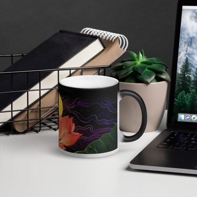Night Lotus Matte Black Magic Mug