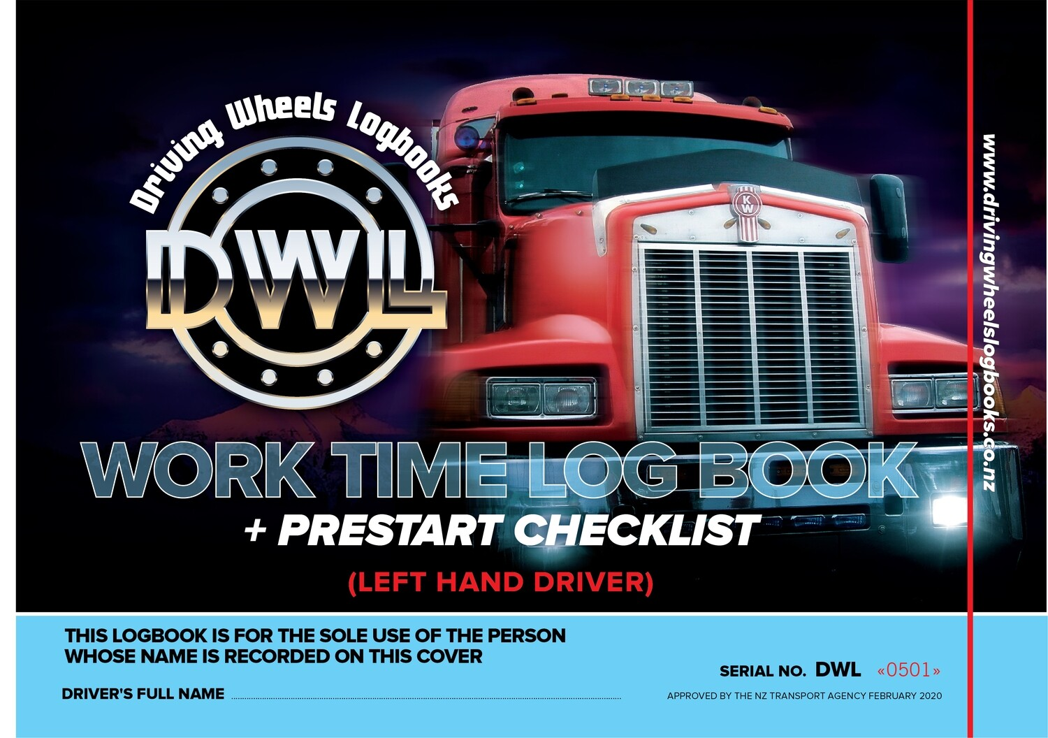 NEW*** A4 LEFTY Driving Wheels Worktime Logbook (DWL Lefty) - NZTA Approved