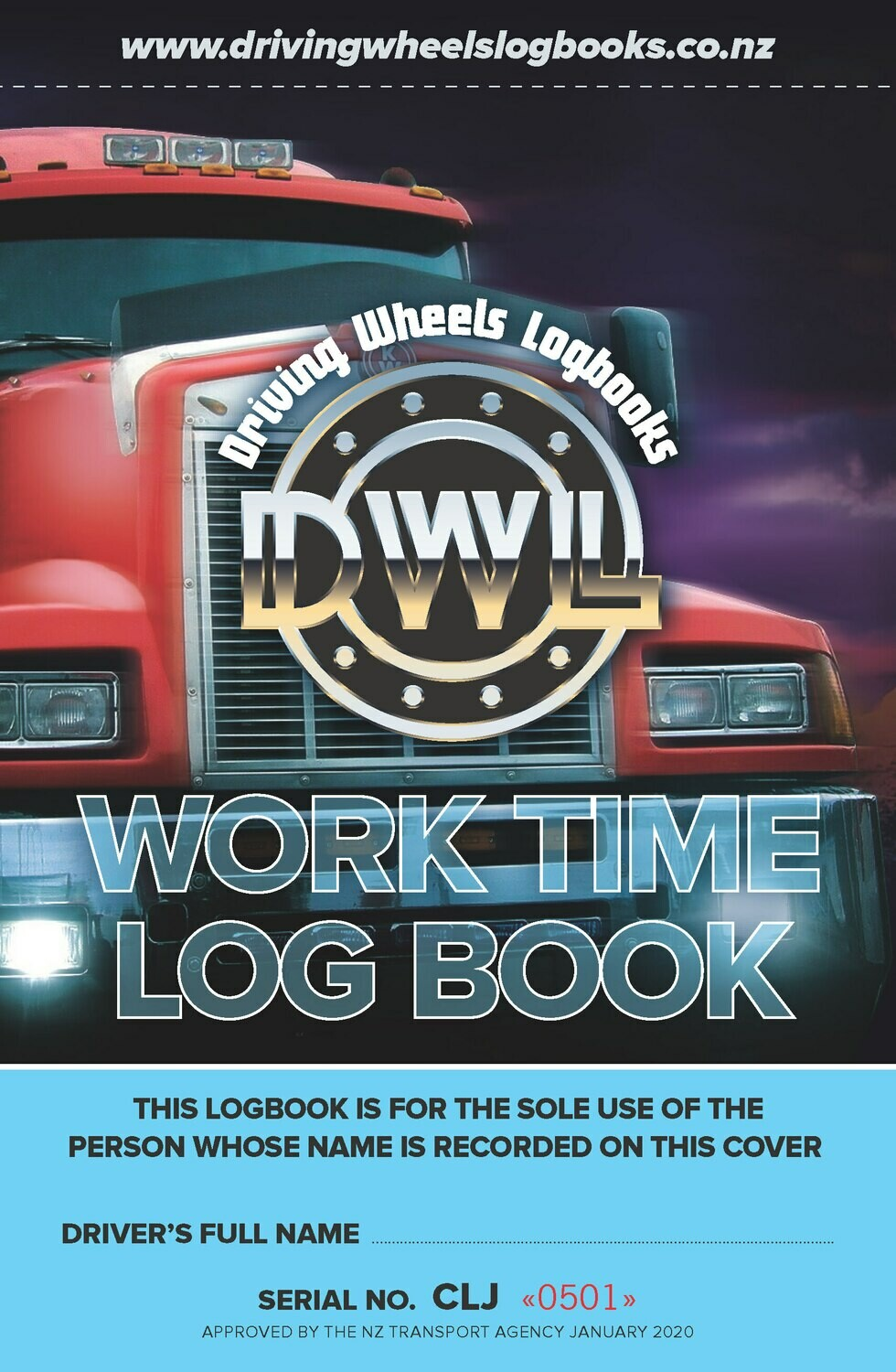 A5 Driving Wheels Worktime Logbook (CLJ) - NZTA Approved