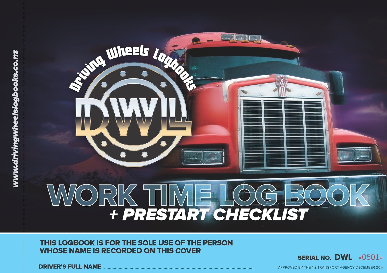A4 Driving Wheels Worktime Logbook  (DWL) - NZTA Approved