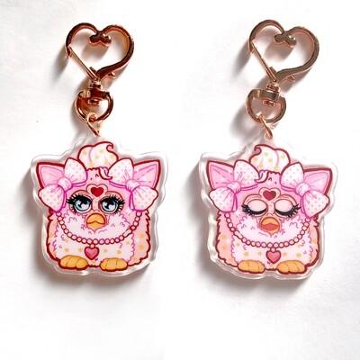 Pink Furby Acrylic Keychain