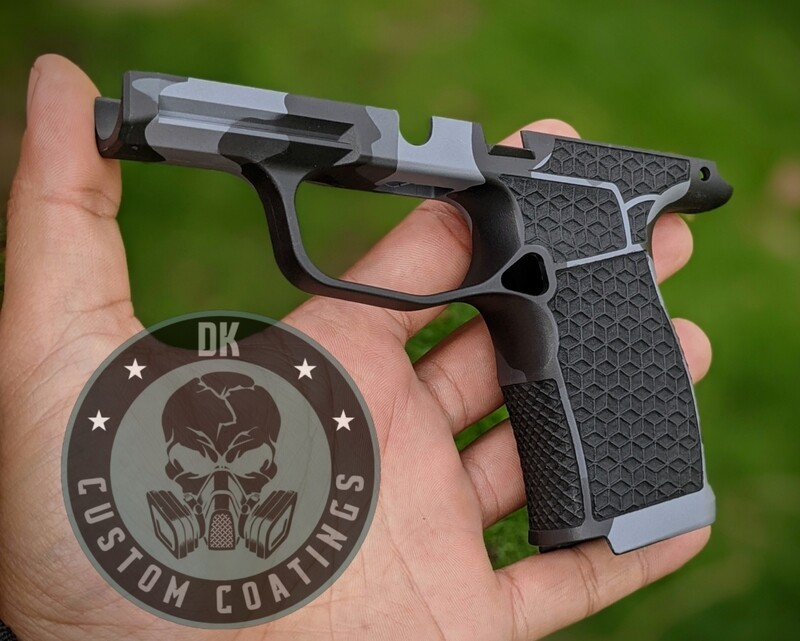 Sig Sauer P365 XL with Chunky Urban Camo and four sided laser stippling.