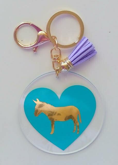 Acrylic Donkey Keyrings (Blue)