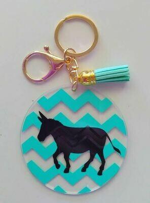 Acrylic Donkey Keyrings (Teal)
