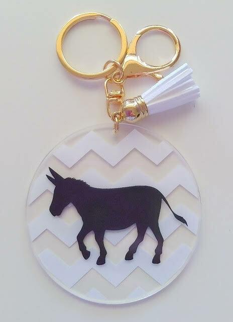 Acrylic Donkey Keyrings (White)