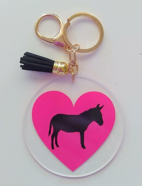 Acrylic Donkey Keyrings (Pink)