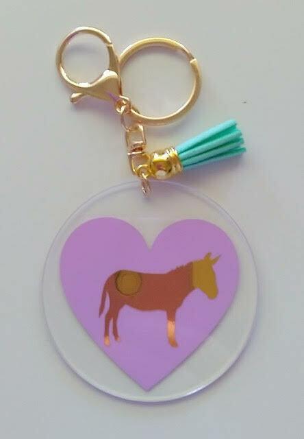 Acrylic Donkey Keyrings (Purple)