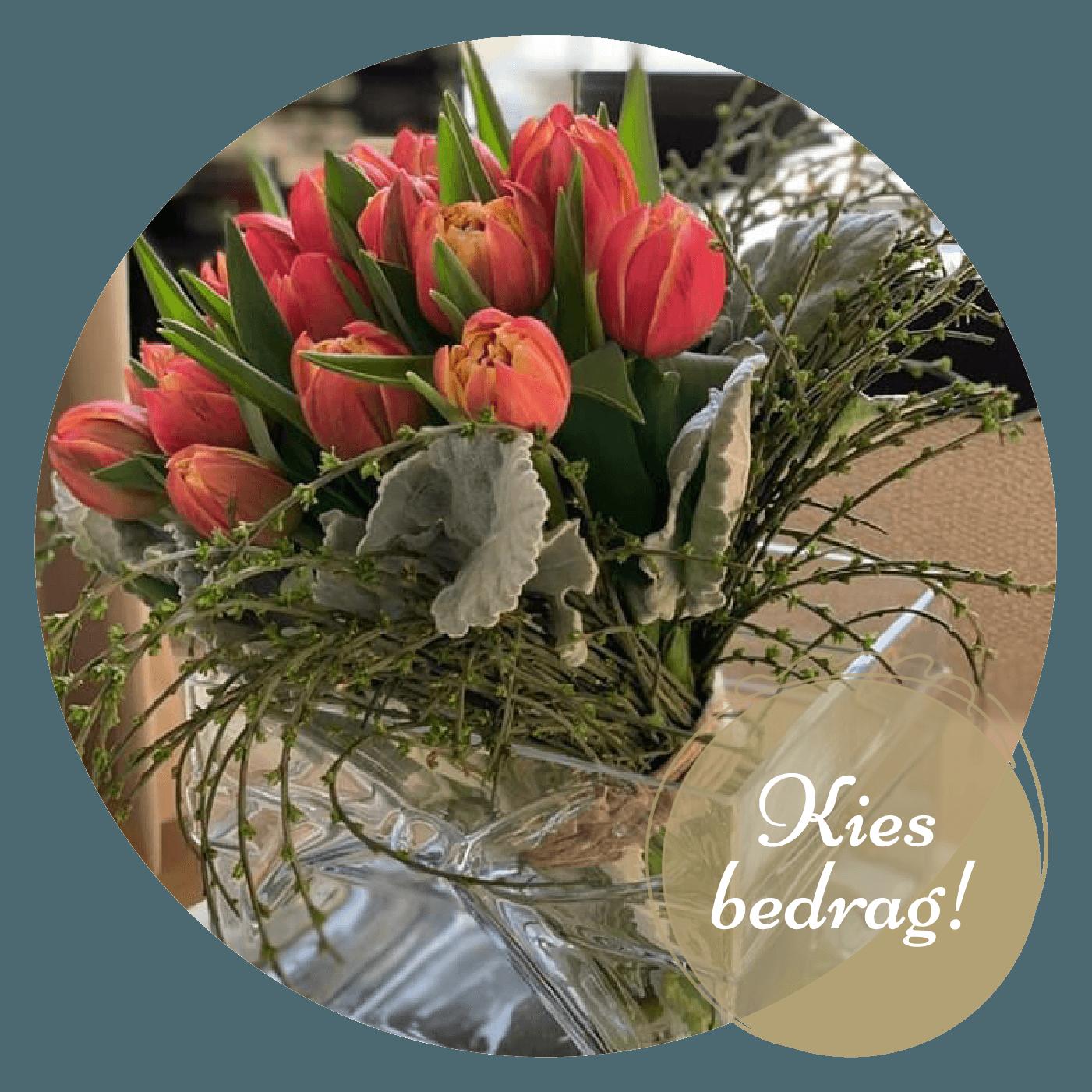 Tulpenboeket met groen