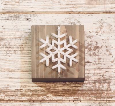 Fuzzy Snowflake String Art Block