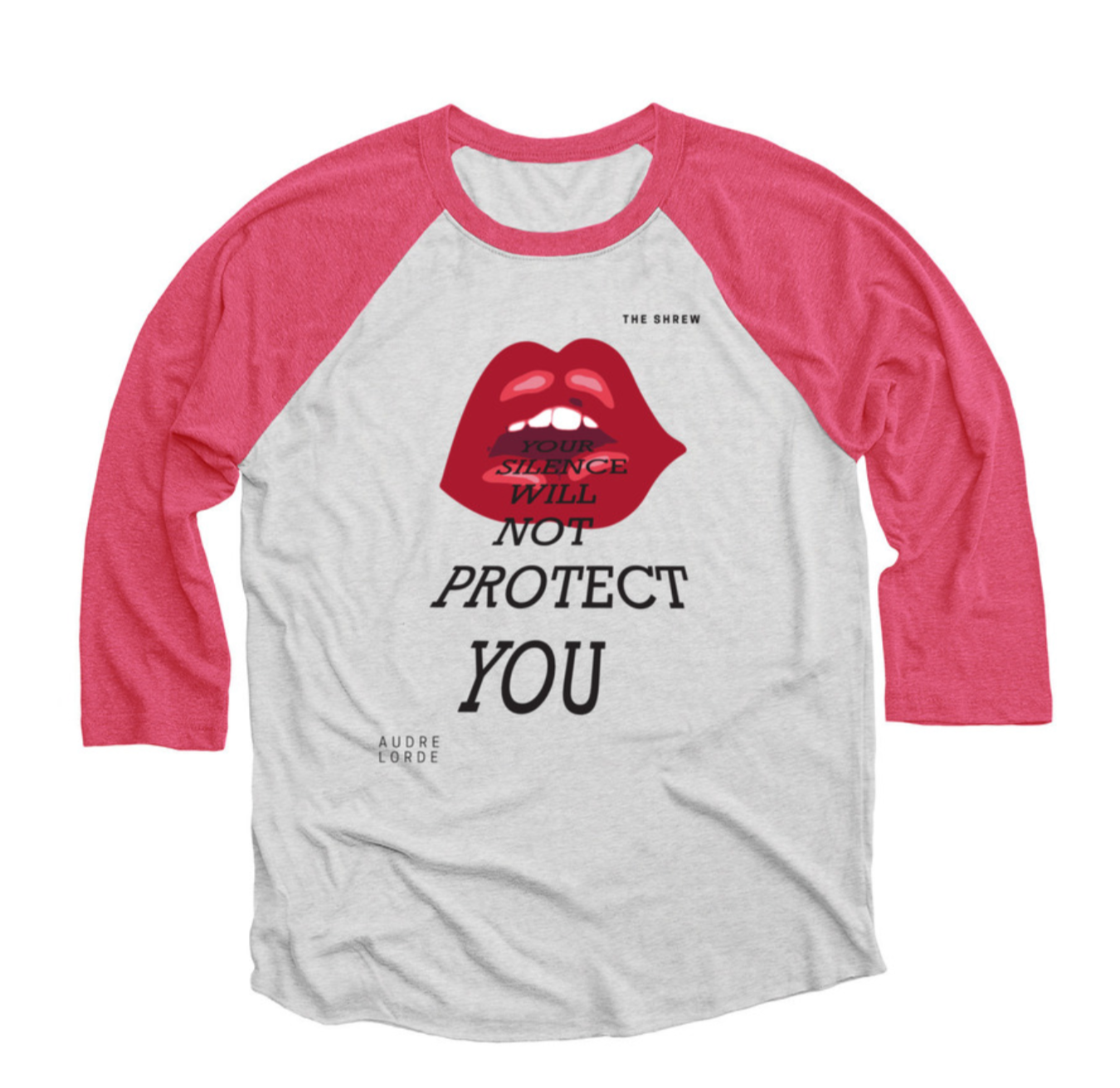 Pink and Heather White #SpeakOut Campaign 3/4 Baseball Tee