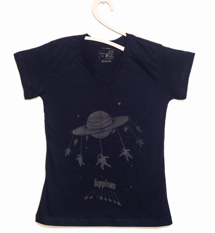 Camiseta Feminina Estampa Happiness Go'Round