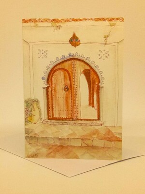'Doors of Morocco' Individual Note Card - No.75 Chefchaouen