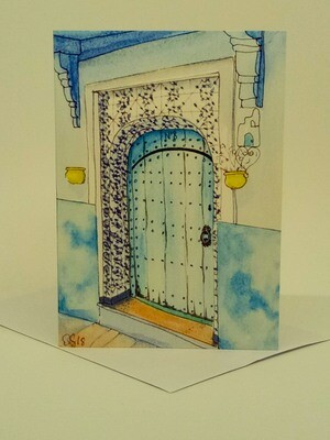 'Doors of Morocco' Individual Note Card - No.39 Chefchaouen