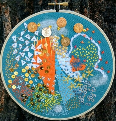 Abstract Embroidery - Aqua