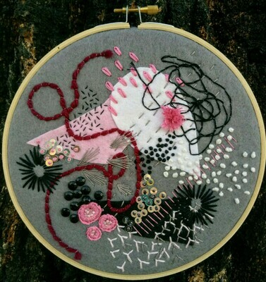 Abstract Embroidery - Grey