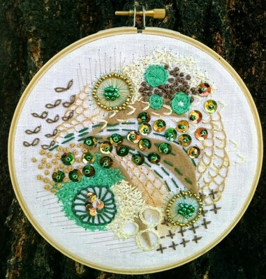 Abstract Embroidery - Peacock
