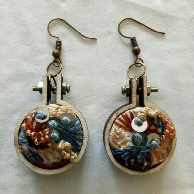 Hand-stitched Earrings - Small Teal