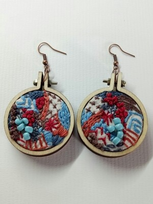 Hand-stitched Earrings - Large Turquoise & Red