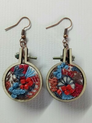 Hand-stitched Earrings - Small Turquoise & Red