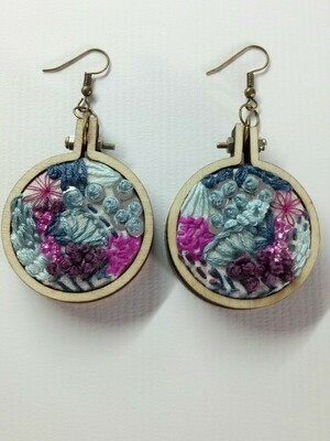Hand-stitched Earrings - Large Blue & Purple