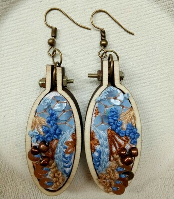Hand-stitched Earrings - Oval Blue & Copper