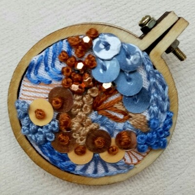 Hand-stitched Brooch - Round Blue & Copper