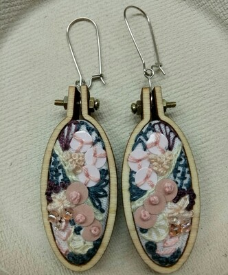 Hand-stitched Earrings - Oval Purple & Pink