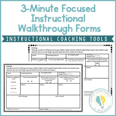 Instructional Coaching 3 Minute Focused Instructional Walkthrough