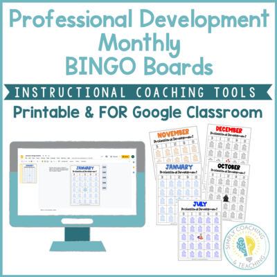 Digital Instructional Coaching Professional Development Monthly BINGO Boards