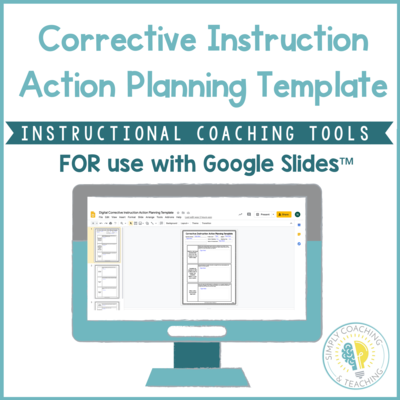 Digital Instructional Coaching Corrective Instruction Action Planning Template