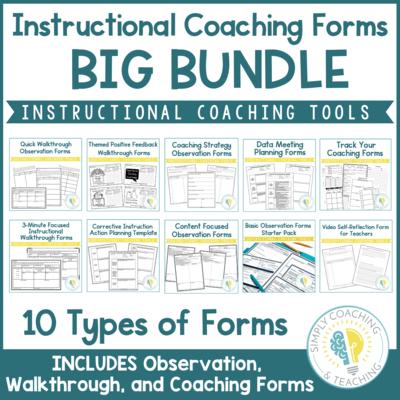 Instructional Coaching: Observation Walkthrough Coaching Digital and PDF Bundle
