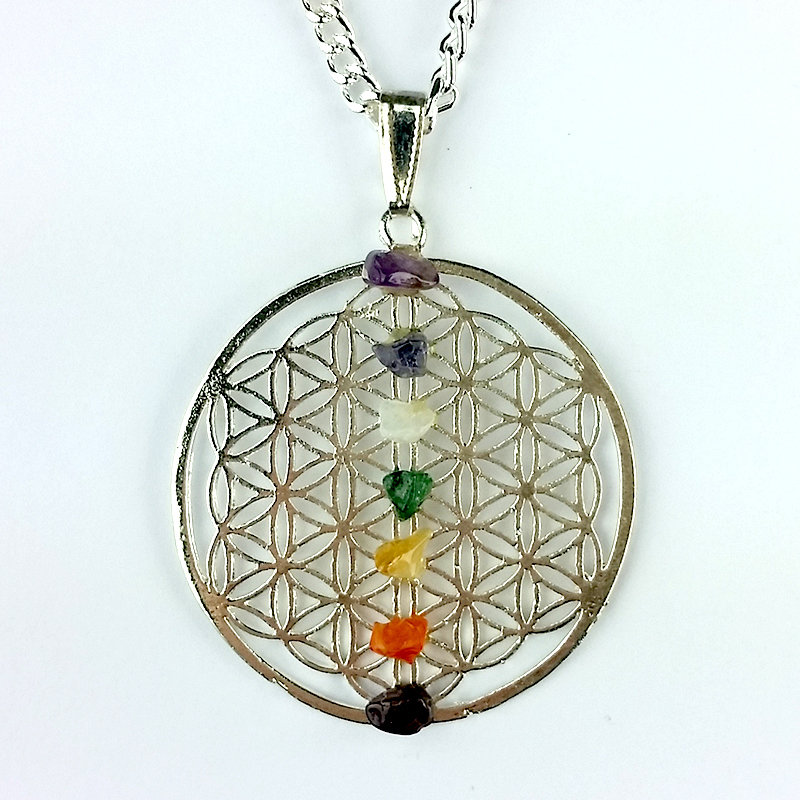 Silver Flower of Life Pendant with Chakra Chips