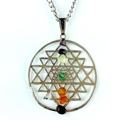 Silver Shreyantra Pendant with Chakra Chips