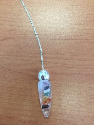 Crystal Quartz with Chakra Chips Bullet Pendulum