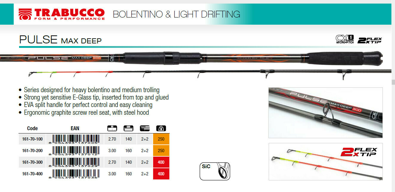 Trabucco Pulse Max Deep 300 boat rod 2 tips up to 400g weights 2.7m