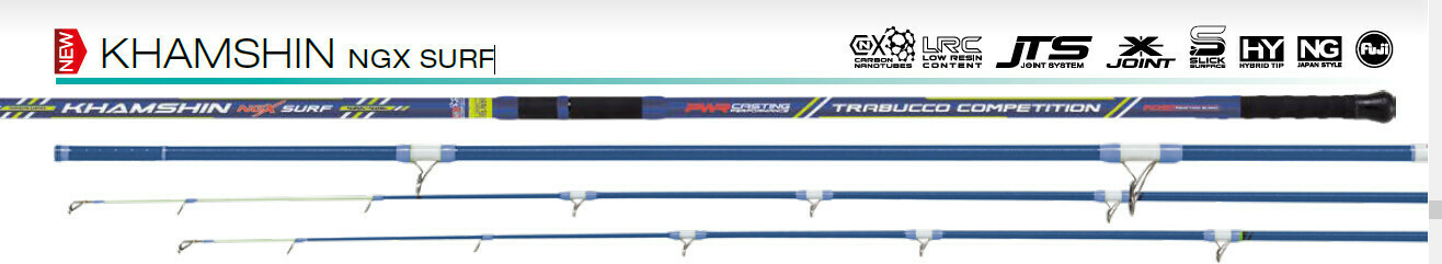 KHAMSHIN NGX SURF 200g 4.2 /4.05NG 2 tips 1 solid carbon hybrid, one tubular, Specialist thin mono or braid long distance Japanese Nage style surf casting rod