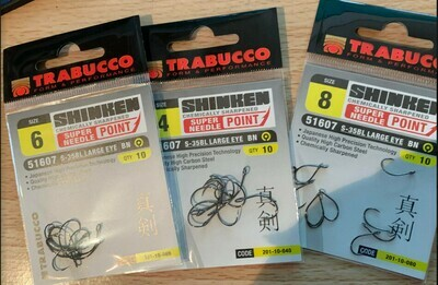Trabucco S 35BL Hard Lure hooks barbless, wide gape, large eye 10 per pack