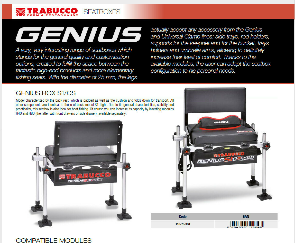 Genius Box S1 Cs with back rest 25mm fitting suitable wt 7 kilos
