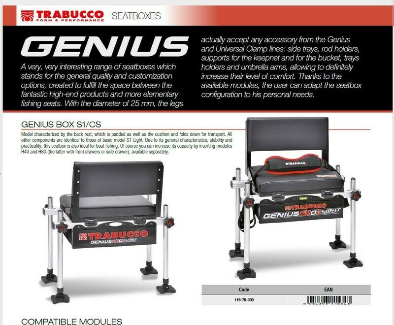 Genius Box S1 Cs with back rest 25mm fitting suitable wt 7 kilos