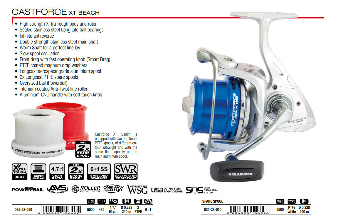 Trabucco Castforce XT Beach 5500 Light surfcasting reel wt 435g plus 2 extra PTFE SPOOLS new 2021