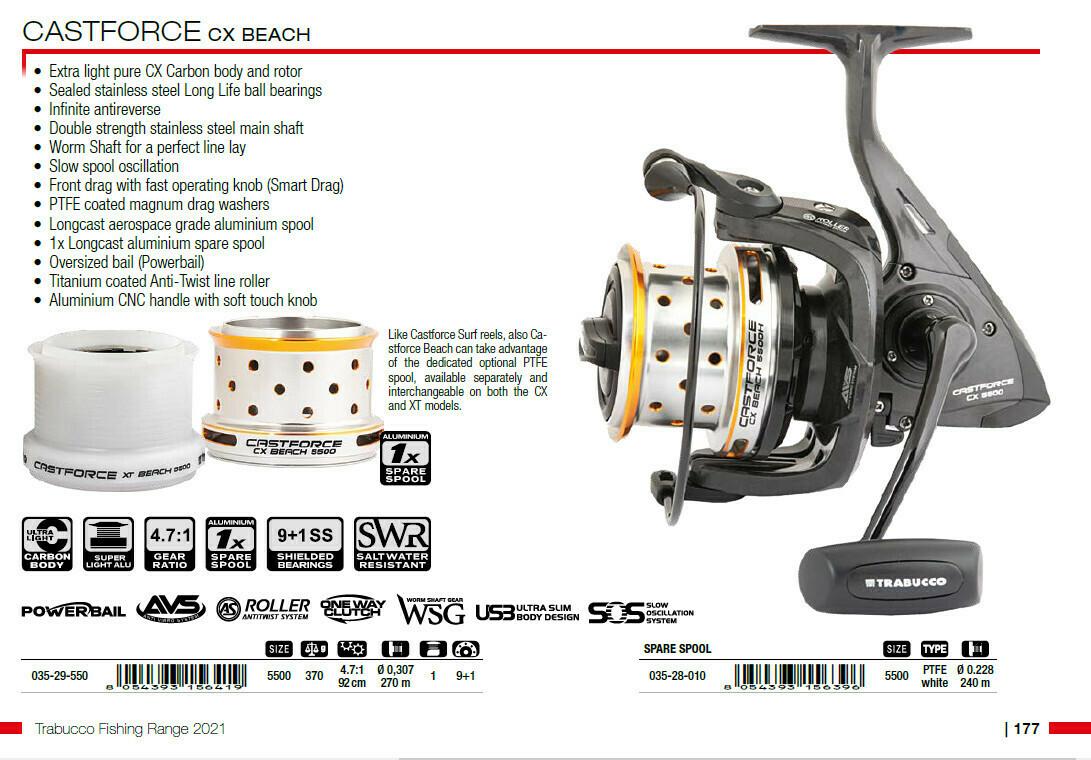 Castforce CX Beach 5500   weight 375g Carbon body  specialist Beach casting reel