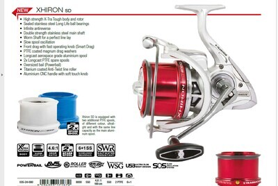 Trabucco Xhiron Surf 8000 new 2021 2 spare spools  colour coded