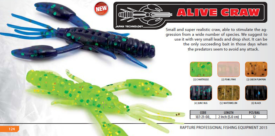 Ultra light game Alien Alive Craw 0.9 inch 12 pcs